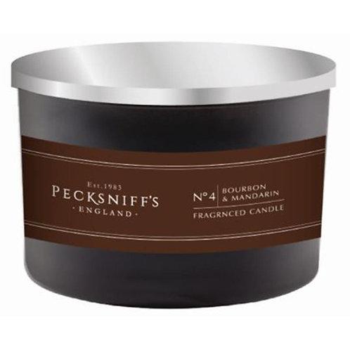 Pecksniffs Mandle Black Tall 3W Candle Bourbon & Mandarin