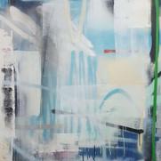 """Translation 2"", aerosol and pastel on canvas, 36"" x 36"" 2018. (Sold)"