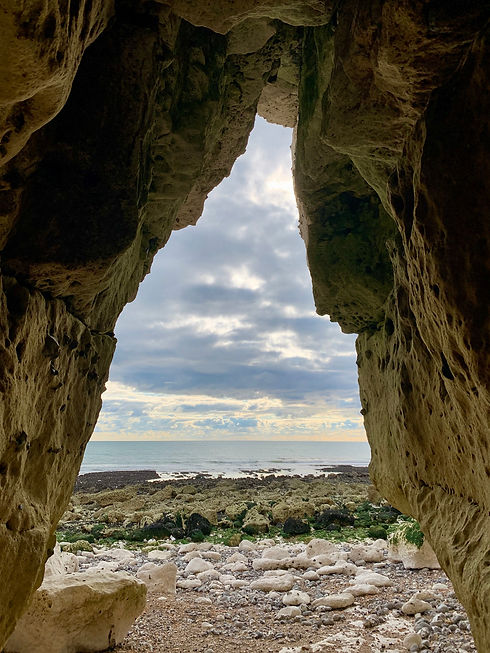 Inside a cave looking out to sea, Cuckme