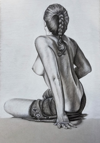 """Nude Study  Conte on Toned Paper Dimensions: 16"""" x 20"""""""