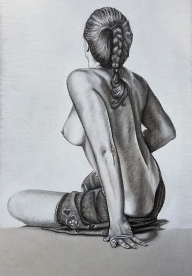 """Conte Drawing on Toned Paper Dimensions: 16"""" x 20"""""""