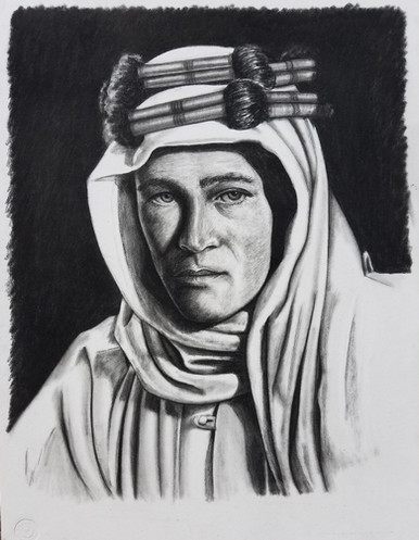 """Portrait of Peter O'Toole as Lawrence of Arabia Conte on Illustration Board Dimensions: 16"""" x 20"""""""