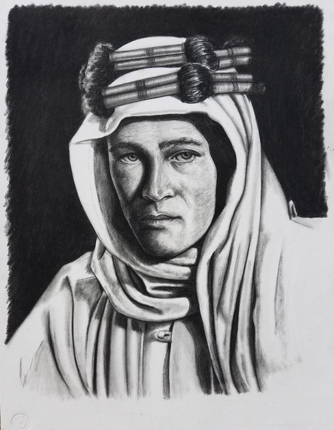 "Portrait of Peter O'Toole as Lawrence of Arabia Conte on Illustration Board Dimensions: 16"" x 20"""