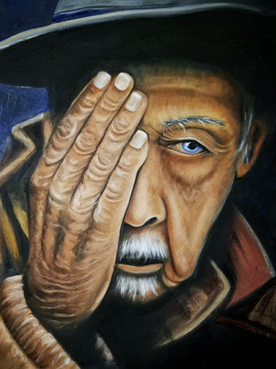 "Portrait of an Elderly Man Oil on Canvas Panel Dimensions: 16"" x 20"""