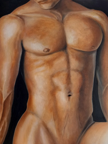 """Nude Male in Oil on Canvas Panel Dimensions: 16"""" x 20"""""""