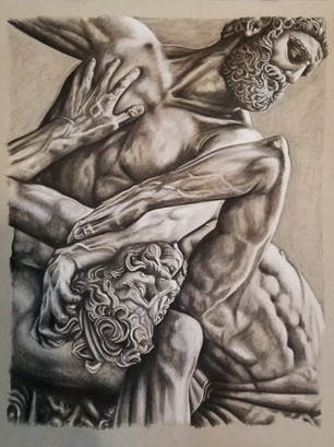 """Conte Drawing on Toned Paper Dimensions: 18"""" x 24"""""""