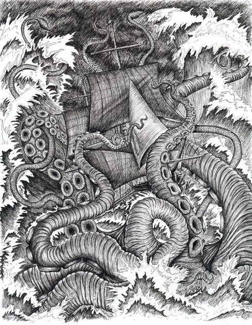 "Pen & Ink Drawing in Micron Pens on Copic Marker Paper Published as full page in Ghastly Affair Dimensions: 9"" x 12"""