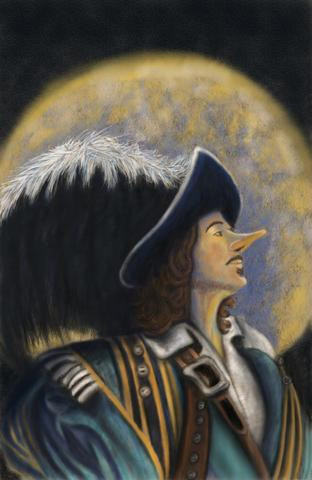Multimedia Painting Digital Pinting printed on Vinyl with Oil apint added Re-Imagining of Cyrano de Bergerac cover