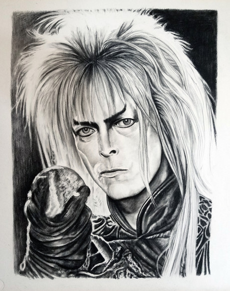 "Portrait of David Bowie as The Goblin King in Labyrinth Conte on Illustration Board Dimensions: 16"" x 20"""