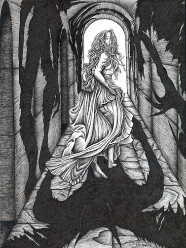 """Pen & Ink Drawing in Micron Pens on Copic Marker Paper Published as full page in Ghastly Affair Dimensions: 9"""" x 12"""""""