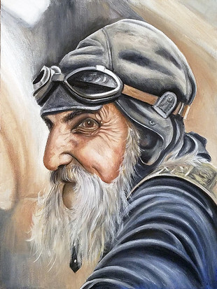 "Portrait of a Biker Oil on Canvas Panel Dimensions: 16"" x 20"""