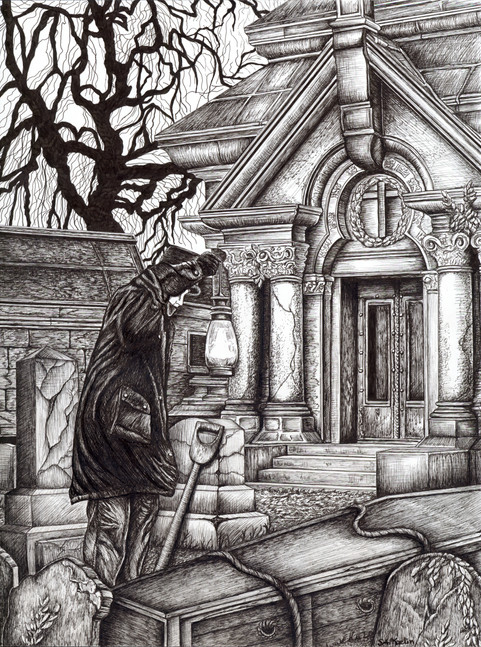 "Pen & Ink on Copic Marker Paper, Dimensions: 11"" x 14"" The Ghastly Affair, Player's Manual  The Ghastly Affair, Presenter's Manual"