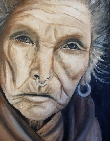 "Portrait of an Elderly Woman Oil on Canvas Panel Dimensions: 16"" x 20"""