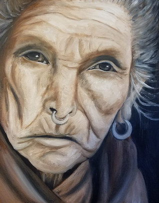 """Portrait of an Elderly Woman Oil on Canvas Panel Dimensions: 16"""" x 20"""""""