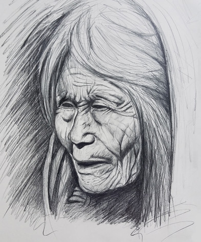"""Pencil Sketch  Dimensions: 18"""" x 24""""  Class demonstration for Illustration Course at Brookdale Community College"""