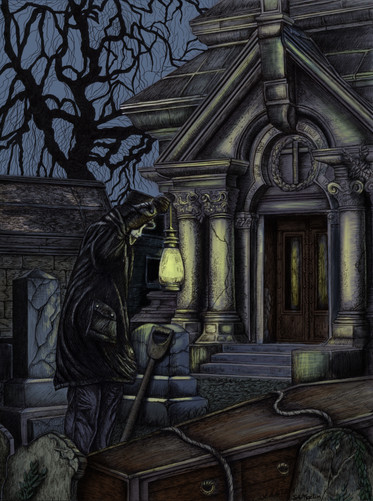 """Pen & Ink on Copic Marker Paper,Dimensions: 11"""" x 14"""" The Ghastly Affair, Player's Manual  The Ghastly Affair, Presenter's Manual Color Added in Photoshop"""