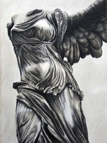 """Sketch of Winged Victory Conte on 18"""" x 24"""" toned paper"""
