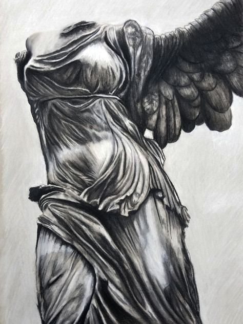 "Sketch of Winged Victory Conte on 18"" x 24"" toned paper"