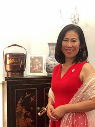 Agnes Relaxing photo with red dress.JPG