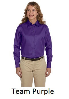 EPM500W Harriton Ladies' Easy Blend™ Long-Sleeve Twill Shirt with Stain-Release
