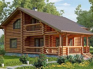 красивый дом из оцилиндрованного бревна