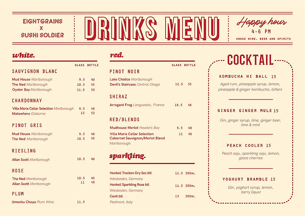 Eightgrains Drinks Menu
