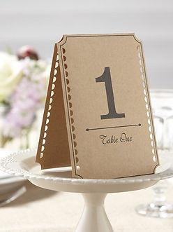ginger ray wedding table number kraft