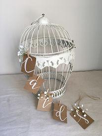 vintage wedding hire bird cage card holder