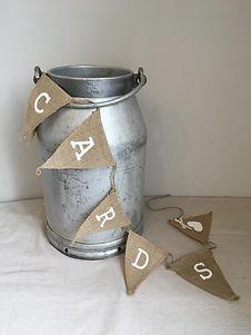 vintage wedding hire milk churn card holder