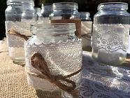 vintage wedding hire jam jars twine hessian rustic