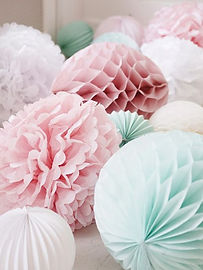 bunting pom poms paper garlands balloons