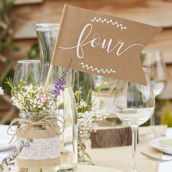 ginger ray wedding table number flag