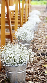vintage wedding hire metal aluminium bucket pail aisle decor gypsophilia babys breath