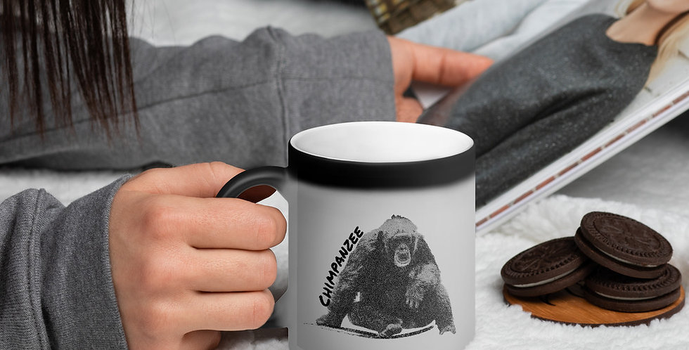 Coffee First Chimpanzee Matte Black Magic Mug