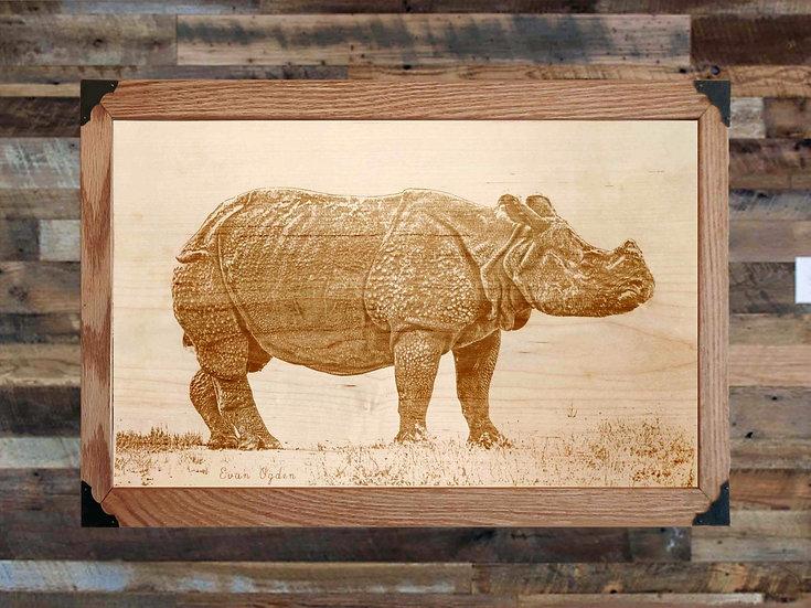 Indian Rhino Profile on Wood Canvas