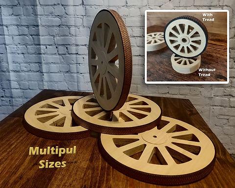 Wooden Wheels W/ Tread (set of 2)