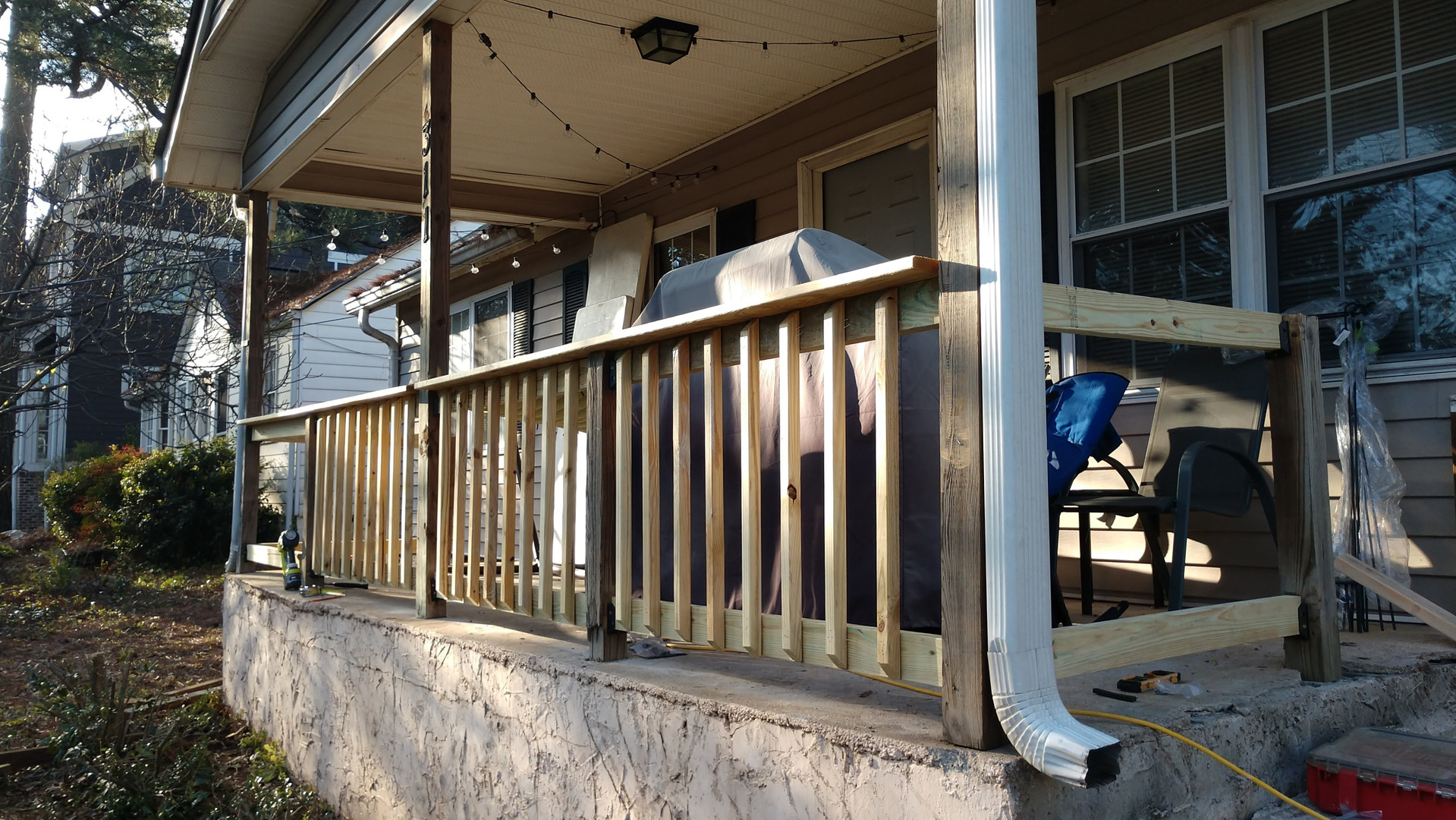 new wooden railing