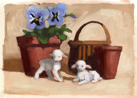 Lambs with Pansies