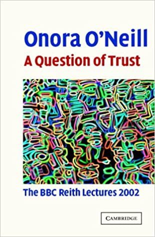 Front page of the transcript of Onora O'Neill's Reith Lectures entitled A Question of Trust