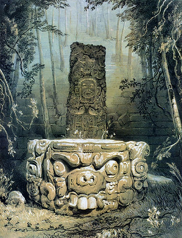 Catherwood's Idol and Altar at Copan.jpg