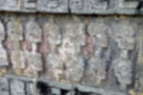 Chichen Itza, Cemetery, skulls, detail c