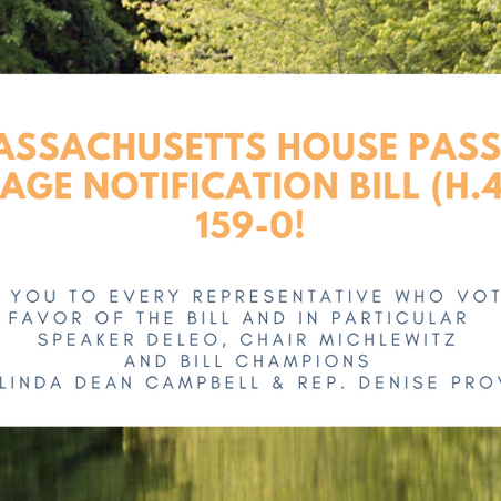 Press Release: MA House passes sewage notification bill