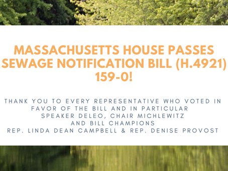 Press Release: MA House passes sewage notification bill