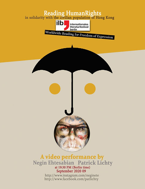 npt art projects, Poster of the Worldwide Reading, Literature Festival Berlin 2020, negin ehtesabian, patrick lichty, democracy, umbrella movement art, freedom of expression, hong kong politics, art performance political art