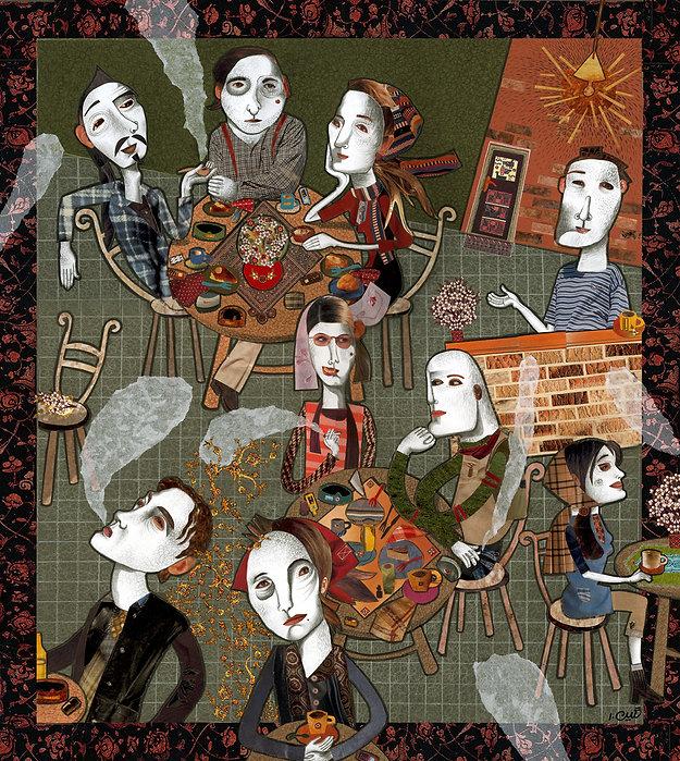 NeginEhtesabian, the void cafe, neginete, neginete art, iran art, iranian artist, middle eastern art, iran illustration, cafe art, art about cafe, cafe in tehran, iran cafe, cafe illustration, middle eastern women artists, iranian female artist, women art, middle east illustration, cafe hich, hich, void, surreal illustration, shadows, starbucks, cafe noire, the most famous cafe ine the world, iranian artist society, iran artists house