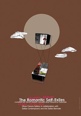 Romantic self exile, morehshin allahyari, negin ehtesabian, oliver francis gallery, new media panel show, poster design, neginete