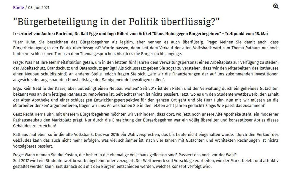 Leserbrief Treffpunkt Sittensen 03.06.20
