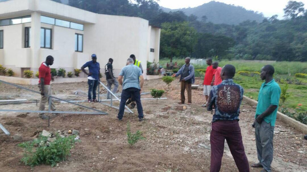 Preparing the clinic for solar panels.
