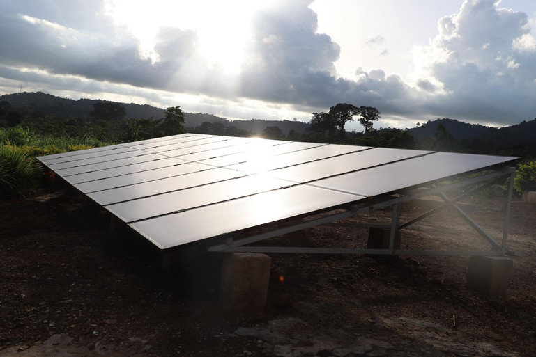 Another view of the solar panels that provide power to the clinic in Agou.