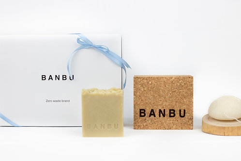Pack 2: Konjac+caja corcho+jabón